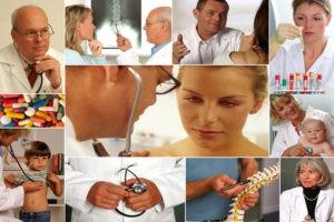 Collage von verschiedenen Ärzten und Patienten.