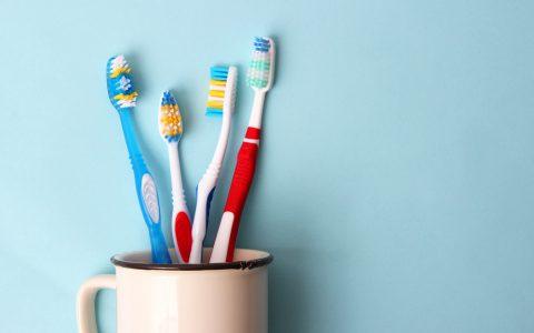 Zahnbürsten in einem Glas auf farbigem Hintergrund. Mundgesundheit, Zähneputzen, gesunde Zähne